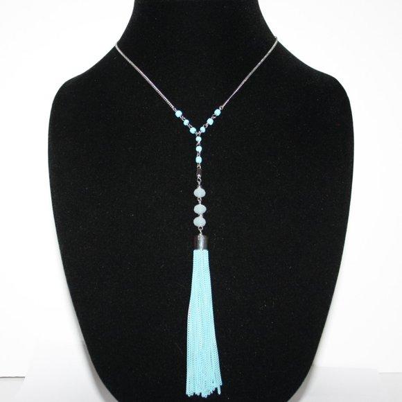 Beautiful silver and aqua tassel necklace